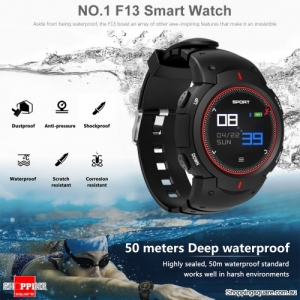NO.1 F13 Waterproof Smart Watch with Real-time Heart Rate Monitor Red Colour