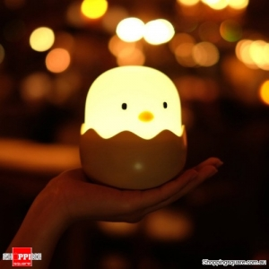 USB Rechargeable Egg Shape Chick Lamp Adjustable Brightness Touch Switch Night Light LED- Yellow