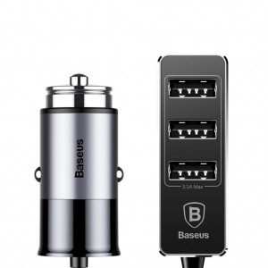 Baseus 5.5A 4 USB Fast Car Charger with Extended Backseat USB Hub Gray Colour