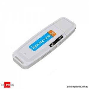 USB Pen Disk Flash Drive Digital Audio Voice Recorder Support up to 32G - White Colour