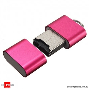 Mini USB 2.0 Micro SD TF T-Flash Memory Card Reader Pink Colour