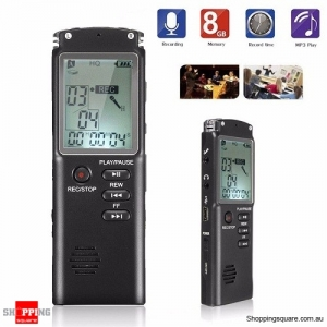 8GB Rechargeable LCD Digital Audio Voice Recorder Dictaphone With MP3 Play
