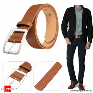 Men PU Leather Belts Casual Pin Buckle Waist Strap Waistband Leisure  - Light Brown