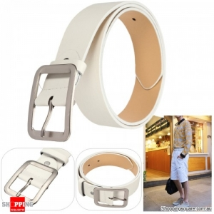 Men PU Leather Belts Casual Pin Buckle Waist Strap Waistband Leisure - White