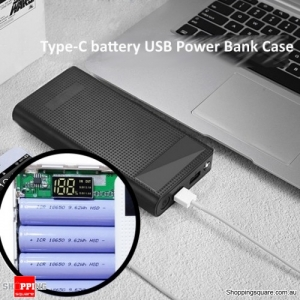 DIY Type C 18650 LED flashlight Digital display Battery Dual USB Power Bank Case Box for Smartphone - Black