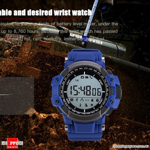 Multi-Function Bluetooth Waterproof Pedometer Smart Watch backlight For iOS Android - Blue
