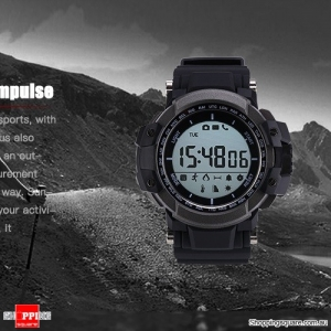 Multi-Function Bluetooth Waterproof Pedometer Smart Watch backlight For iOS Android - Black