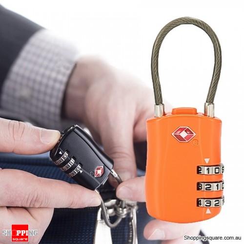Travel Luggage Long Wire TSA Lock 3 Digit Suitcase Locks Security for Suitcase Luggage Toolbox - Orange