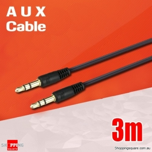 3.5mm AUX Male to Male Extension Auxiliary Audio Stereo Cable Adapter - 3m