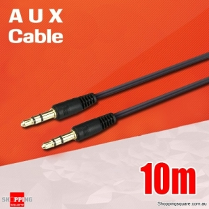 3.5mm AUX Male to Male Extension Auxiliary Audio Stereo Cable Adapter - 10m