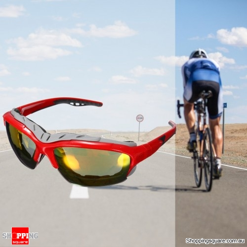Unisex Sport Sunglasses Cycling Bicycle Bike Outdoor Eyewear Goggle Sunglasses - Red