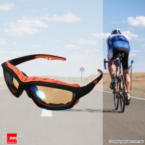 Unisex Sport Sunglasses Cycling Bicycle Bike Outdoor Eyewear Goggle Sunglasses - Black&Orange