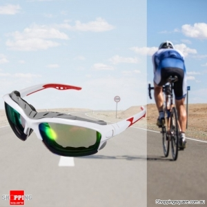 Unisex Sport Sunglasses Cycling Bicycle Bike Outdoor Eyewear Goggle Sunglasses - White