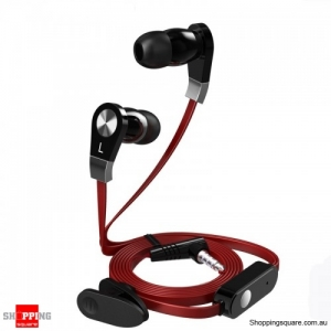 3.5mm In-ear Earphone With Mic Remote Control with clip Flat Wire For iPhone Samsung HTC-Red