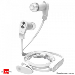 3.5mm In-ear Earphone With Mic Remote Control with clip Flat Wire For iPhone Samsung HTC - White