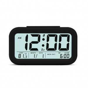 Lazy Silent Night Light Smart Alarm Clock Black Colour