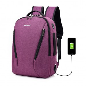 Waterproof Canvas Laptop Travel Backpack with Lock USB Charging Port Headphone Hole - Purple Colour