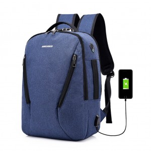 Waterproof Canvas Laptop Travel Backpack with Lock USB Charging Port Headphone Hole - Blue Colour