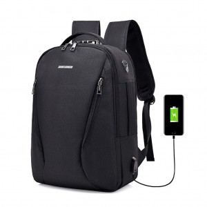 Waterproof Canvas Laptop Travel Backpack with Lock USB Charging Port Headphone Hole - Black Colour