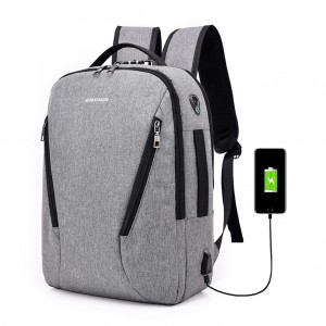 Waterproof Canvas Laptop Travel Backpack with Lock USB Charging Port Headphone Hole - Gray Colour