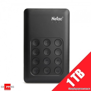"1TB Netac K390 USB 3.0 2.5"" Portable External Hard Drive with Keypad Lock"