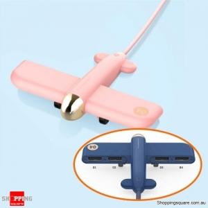 Innovative WWII Warplane Aircraft Shaped 4-Port USB Hub for Windows Mac Linux - Pink