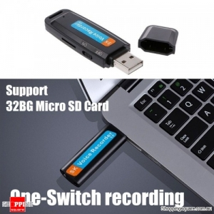 USB Pen Disk Flash Drive Digital Audio Voice Recorder support 32GB TF Micro SD card - Black