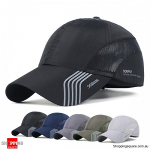 Men's Breathable Quick Dry Sunshade Mesh Baseball Hat Cap for Outdoor - Midnight Black