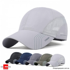 Men's Breathable Quick Dry Sunshade Mesh Baseball Hat Cap for Outdoor - Silver