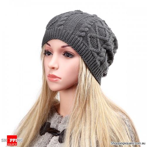 Women's Warm Soft Knit Double Helix Structure Wool Cap Hat Outdoor Autumn Winter - Dark Grey