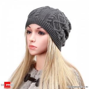 Women's Warm Soft Knit Double Helix Structure Wool Cap Hat Outdoor Autumn Winter - Dark Grey