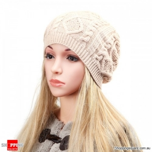 Women's Warm Soft Knit Double Helix Structure Wool Cap Hat Outdoor Autumn Winter - Beige
