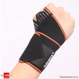Weight Lifting Fitness Wristband Hand Bandage Adjustable Elastic Wrist Injury Support Sport-Orange