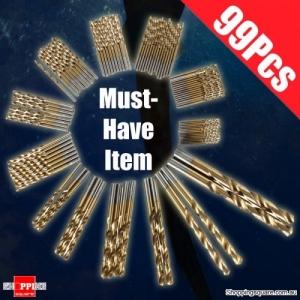 99Pcs of 1.5mm - 10mm High Speed Steel Titanium Coated Drill Bit Set Manual Twist