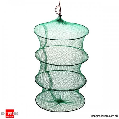 Folding Round Metal Frame Nylon Mesh Crab Fish Fishing Landing Net-Green Fishing Net #4