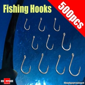500 Pcs Black Silver Fishing Tackle Jigs Hooks FishhooK with Box