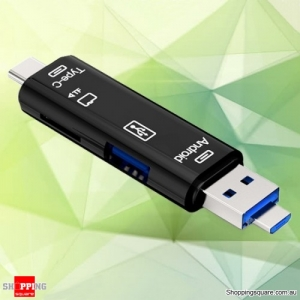 5-in-1 Universal OTG Card Reader Type-C Micro USB TF Card Reader For Phone Computer Memory Card
