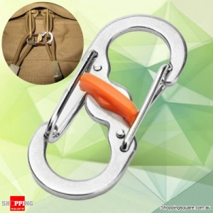 S-Shape Anti Theft Carabiner Keychain Hook Clip Tool  security device for Camping Travelling - Silver