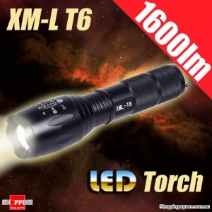 XM-L T6 1600LM 5 Modes Zoomable XM-L T6 LED Light Flashlight Torch for Hiking Hunting