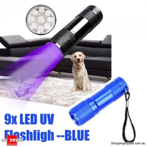 9x LED Violet UV LED Light Flashlight Fluorescence Multifunctional Detection Pen - Blue
