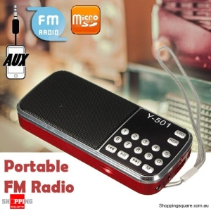 Y-501 Portable Mini LCD Electronic FM Radio Speaker Mp3 Music Player Supported USB Disk TF AUX Red Colour