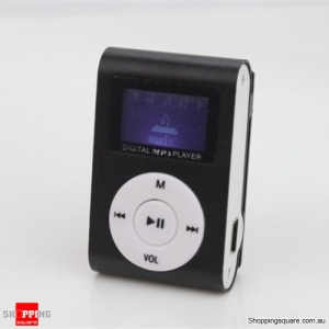 Mini USB Clip MP3 Player Music Media with LCD Screen Support 32GB TF Card - Black