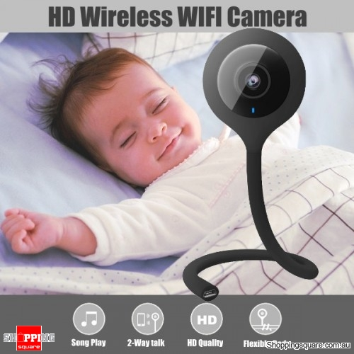 Mini Bendable 720P 2.1mm Wireless WIFI Smart Home IP Camera Baby Monitor - Black
