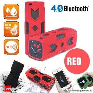 Portable USB NFC AUX Bluetooth 4.0 Wireless Waterproof  Bass Subwoofer Speaker-Red