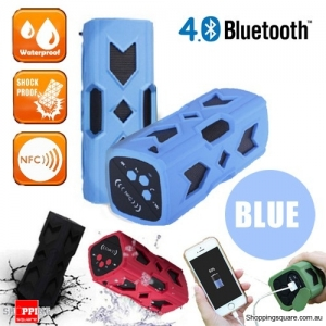 Portable USB NFC AUX Bluetooth 4.0 Wireless Waterproof  Bass Subwoofer Speaker-Blue