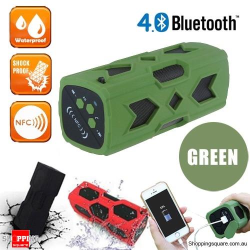 Portable USB NFC AUX Bluetooth 4.0 Wireless Waterproof  Bass Subwoofer Speaker-Green