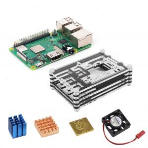 4-in-1 Raspberry Pi 3 Model B+ + Acrylic Case + Cooling Fan + Heatsink Kit