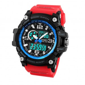 SKMEI 1283 LED Military Dual Display Chronograph Sport Digital Watch Red & Blue Colour