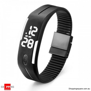 Casual Digital LED Rectangle Sport Digital Bracelet Wrist Watch Buckle - Black