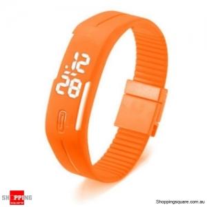Casual Digital LED Rectangle Sport Digital Bracelet Wrist Watch Buckle - Orange